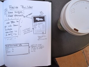 notebook with sketch for a recipe builder hack